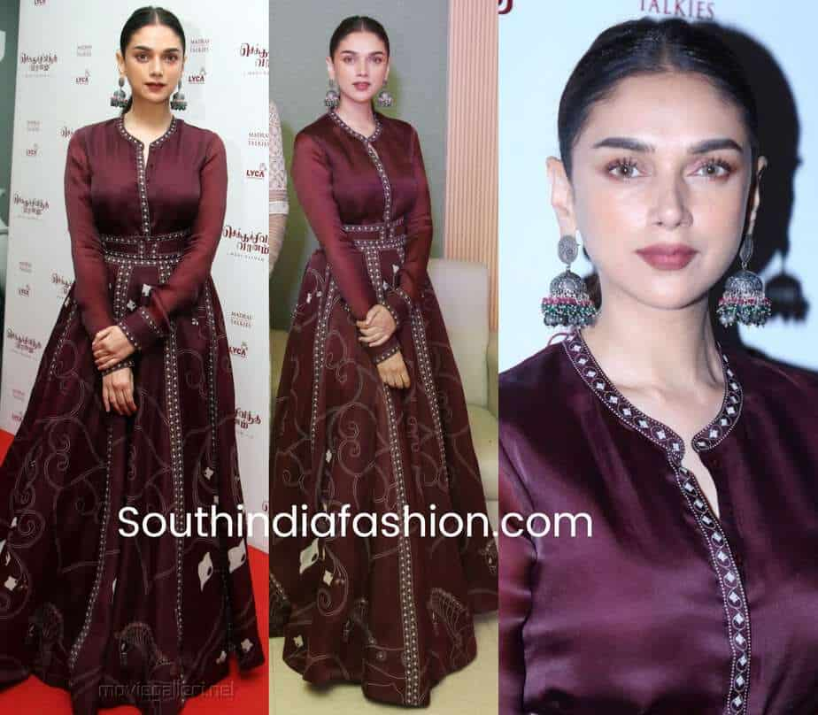aditi rao hydari maroon gown Chekka Chivantha Vaanam Audio Launch