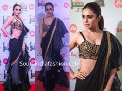 amruta khanvilkar black ruffle saree jio filmfare awards