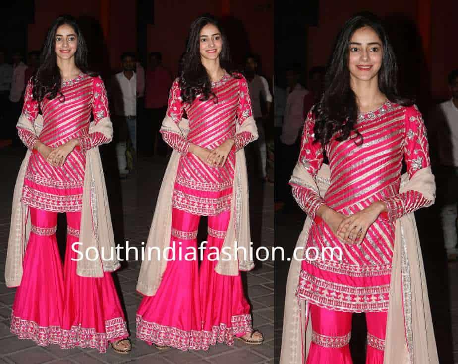 ananya panday pink sharara manish malhotra