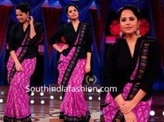 anasuya pink ikat saree with black long blouse