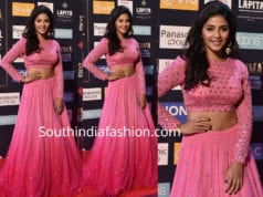 anjali pink long skirt crop top siima awards 2018