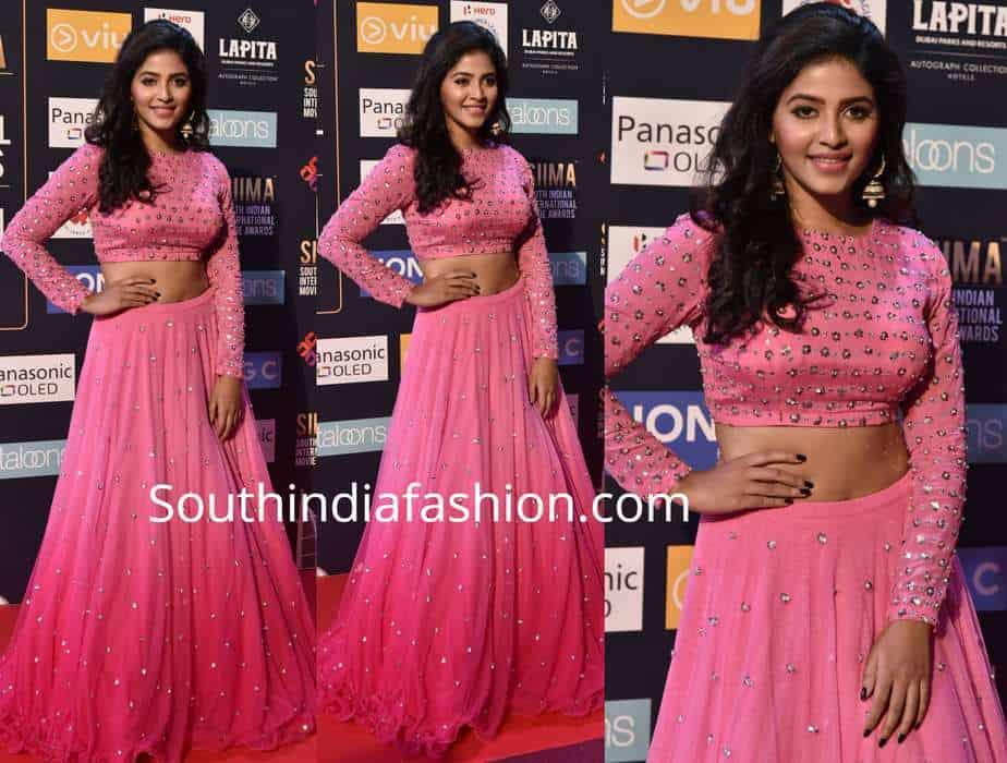 anjali pink long skirt crop top siima awards 2018