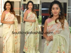 anu emmanuel in linen saree for sailajan reddy alludu promotions