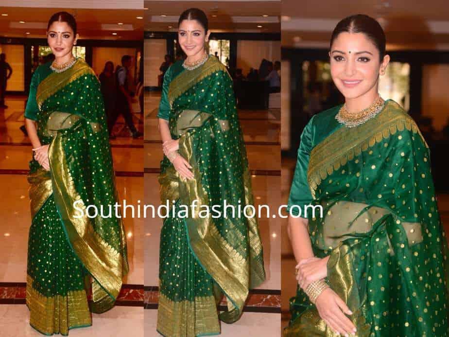 anushka sharma green saree priyadarshini academy global awards