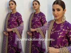 anushka sharma purple sabyasachu suit sui dhaaga promotions