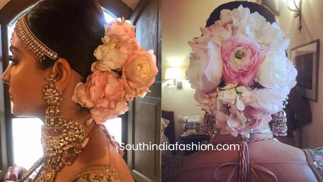 indian hair bun with flowers
