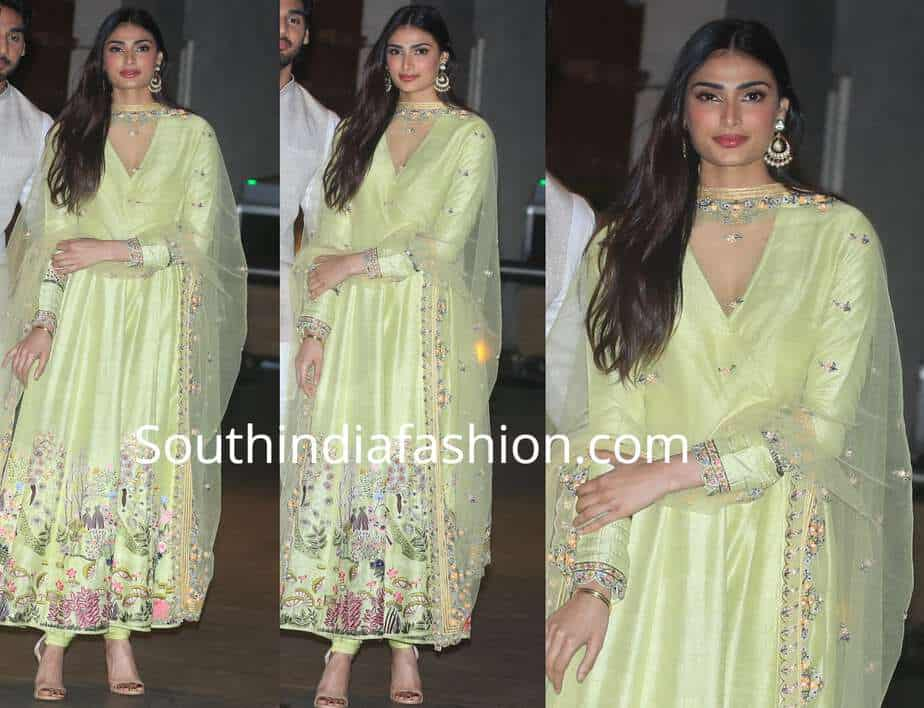 athiya shetty green anarkali ambani ganapati celebration