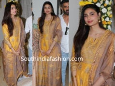 athiya shatty yellow palazzo suit ajay kapoor ganapati pooja