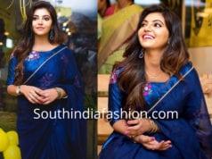athulya ravi blue saree