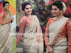 athulya ravi traditional saree full sleeves blouse