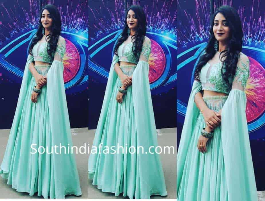 bhanu sri long skirt crop top bigg boss telugu finale