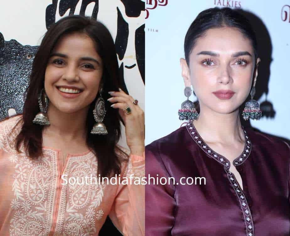 celebrities in silver oxidized earrings