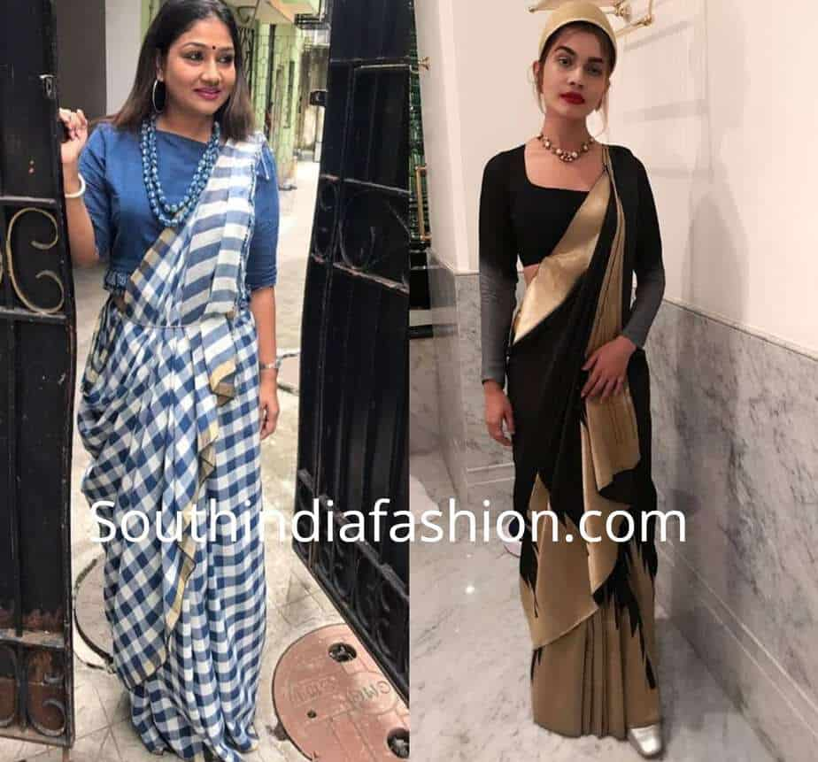 different styles of wearing saree