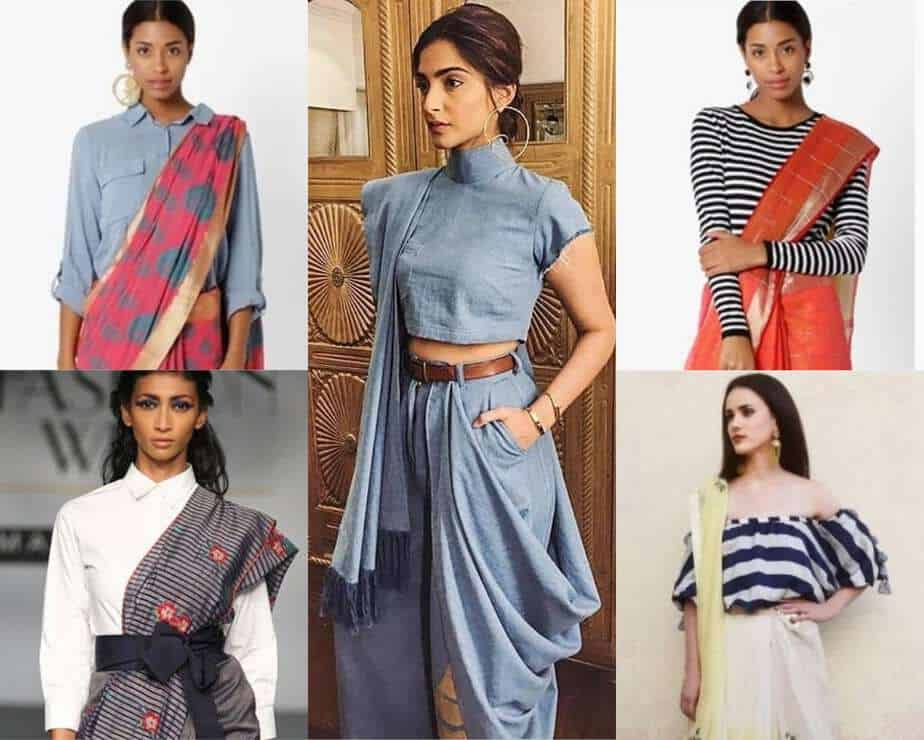 different types of shirts with sarees