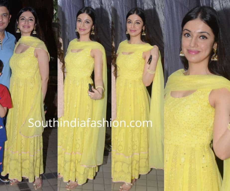divya khosla kumar yellow anarkali suit
