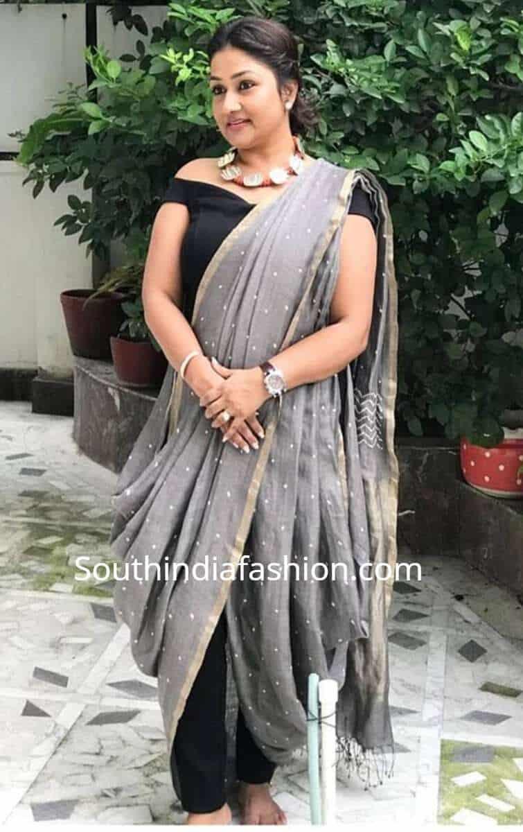 double cowl saree drape