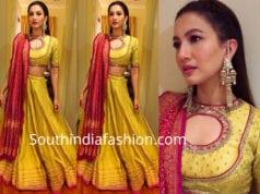 gauhar khan yellow lehenga