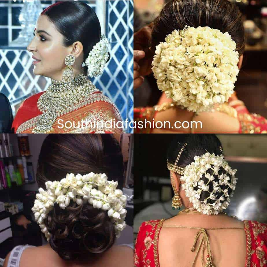 indian bun hairstles with jasmine flowers