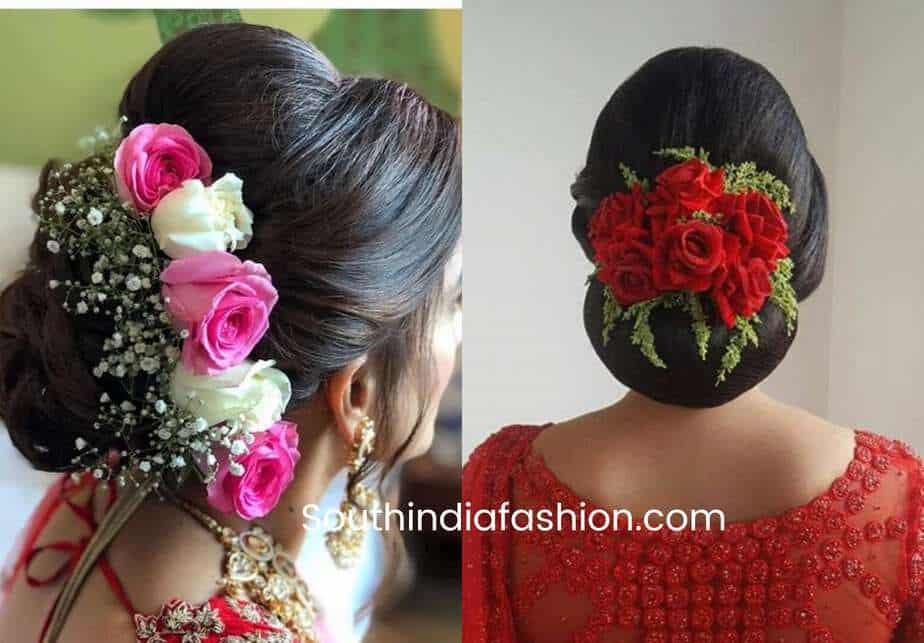indian bun hairstyles with rose flowers