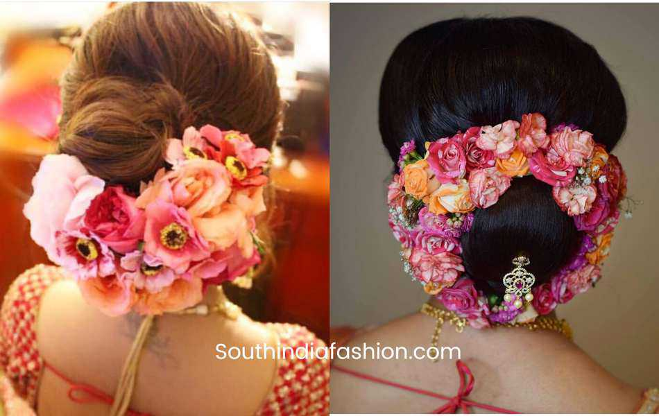 how to wear flowers in hair bun