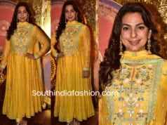 juhi chawla in anita dongre yellow anarkali