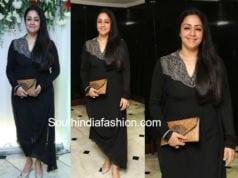 jyothika black draped kurta