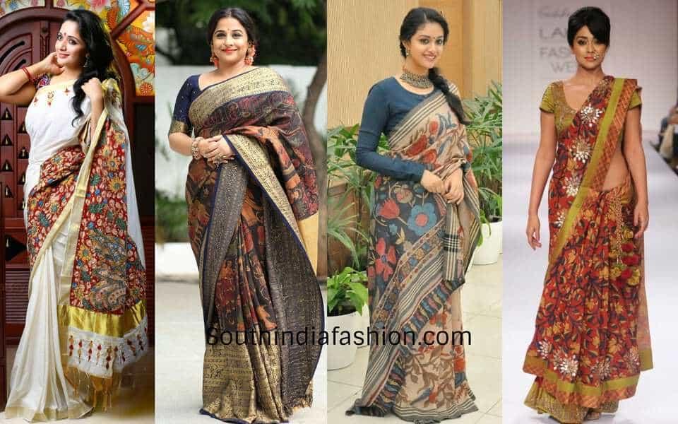 kalamkari saree looks