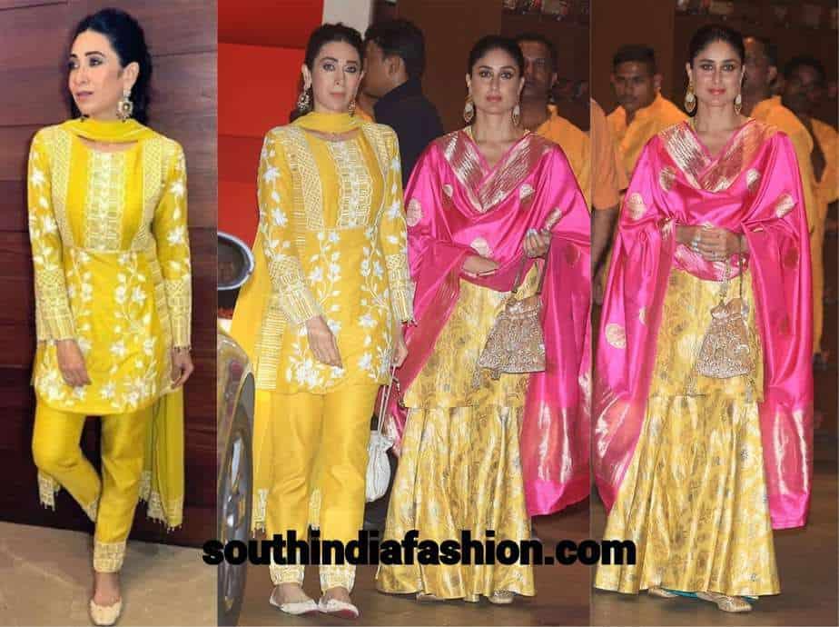 kareena karishma in yellow at ganesh festival