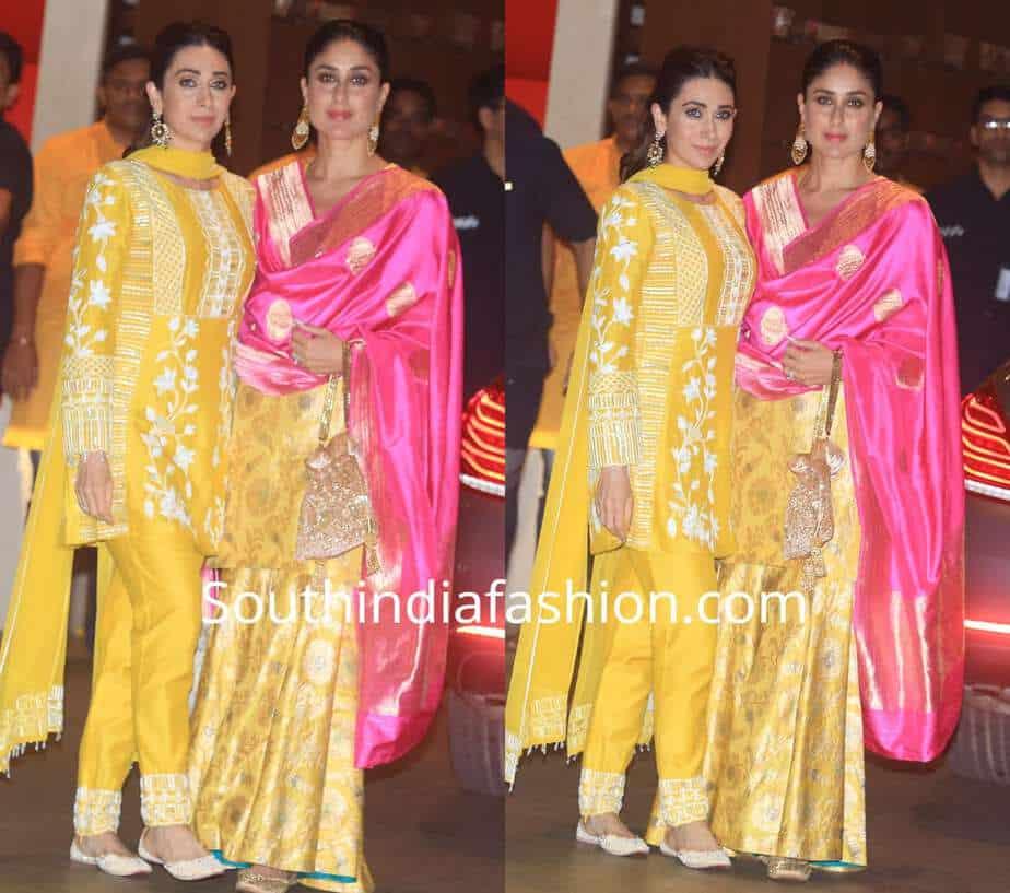 kareena and karisma in yellow outfits at ambani ganesh chaturthi celebrations
