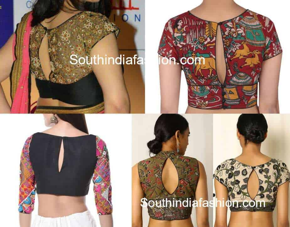 keyhole back neck saree blouse designs