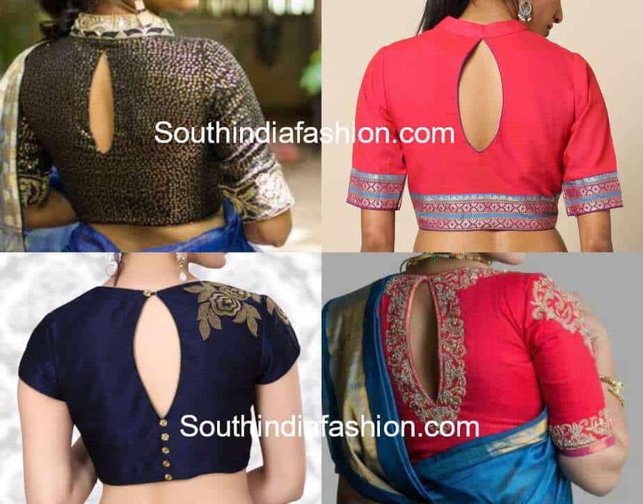 a1bc5f7bf64643 keyhole neckline blouse designs