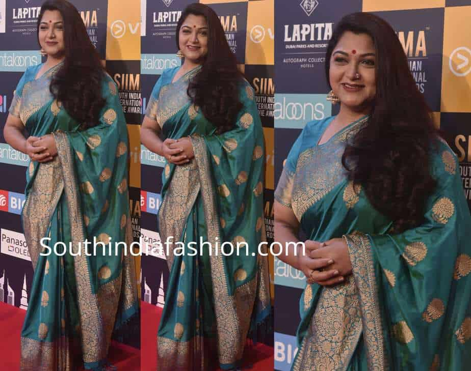 khushbu sundar green silk saree siima awards 2018