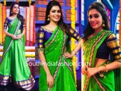 kiki vijay in green half saree