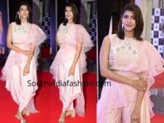 lakshmi manchu pink dhoti saree mirchi music awards 2018