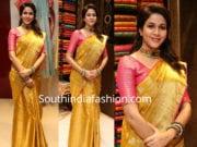 lavanya tripathi yellow pattu saree womans world launch