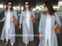 madhuri dixit airport look jeans with long jacket