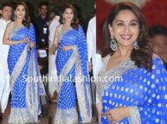 madhuri dixit blue saree ambani ganesh chaturthi celebrations