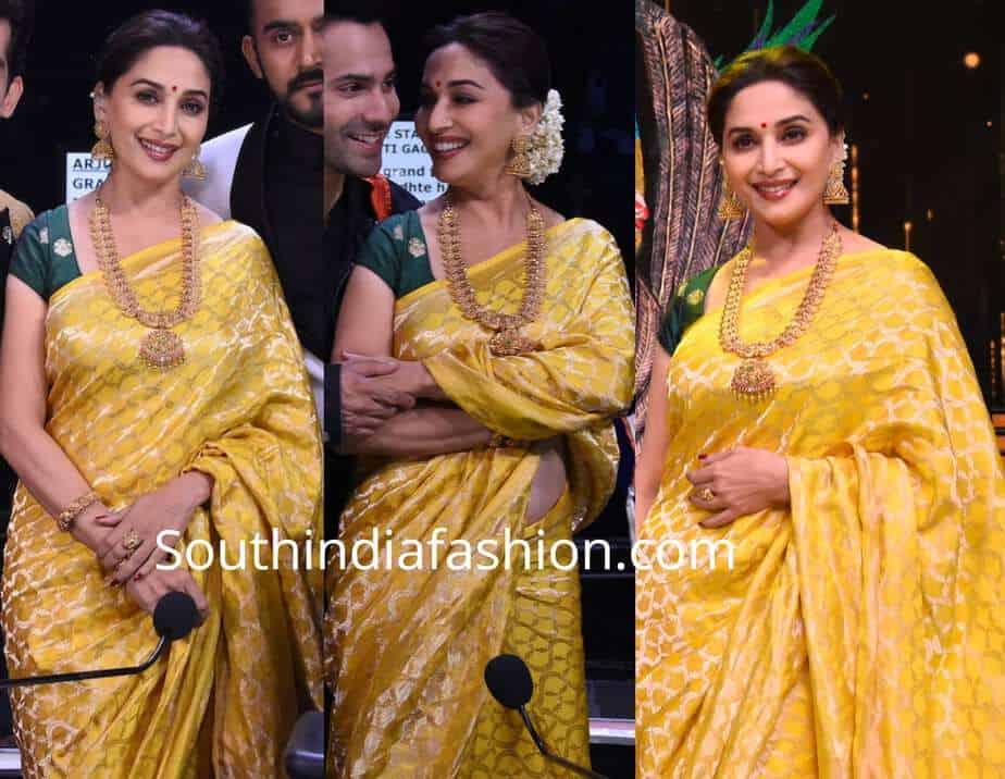 madhuri dixit yellow silk saree dance deewane