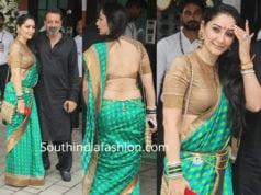 manyata dutt green saree at arpita khan ganesh visarjan