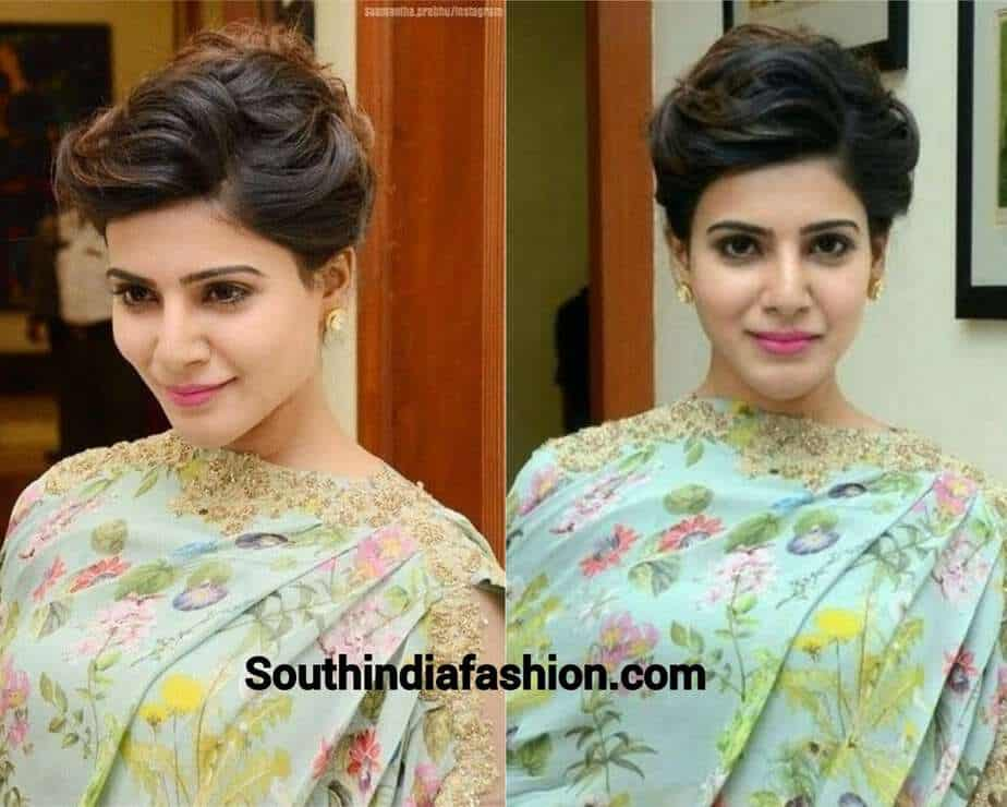 samantha hairstyle messy side parted bun