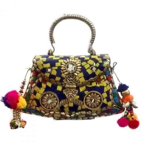 Metal handle ethnic bag