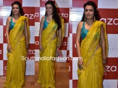 mini mathur yellow saree raw mango