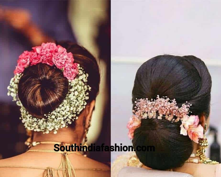 indian bun hairstyle with flowers