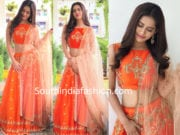 nabha natesh orange lehenga architha narayanam