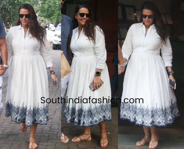 neha dhupia maternity fashion white dress