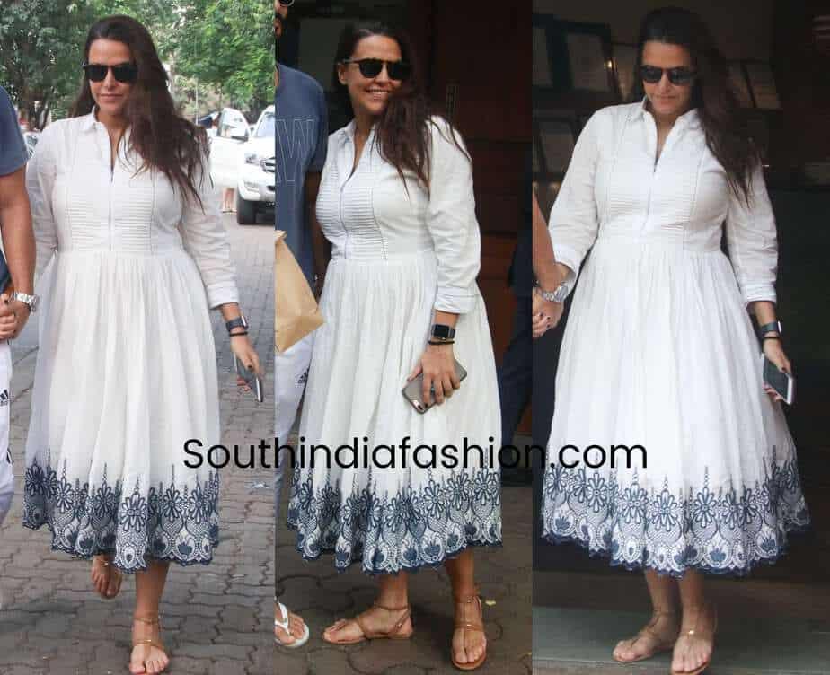 neha dhupia maternity fashion white dress