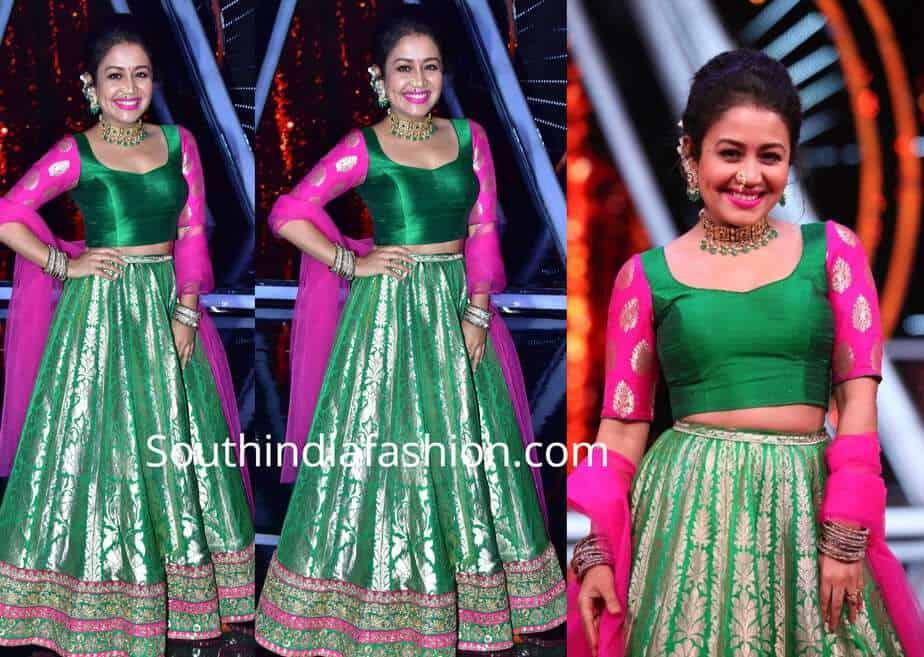 neha kakkar green lehenga choli indian idol