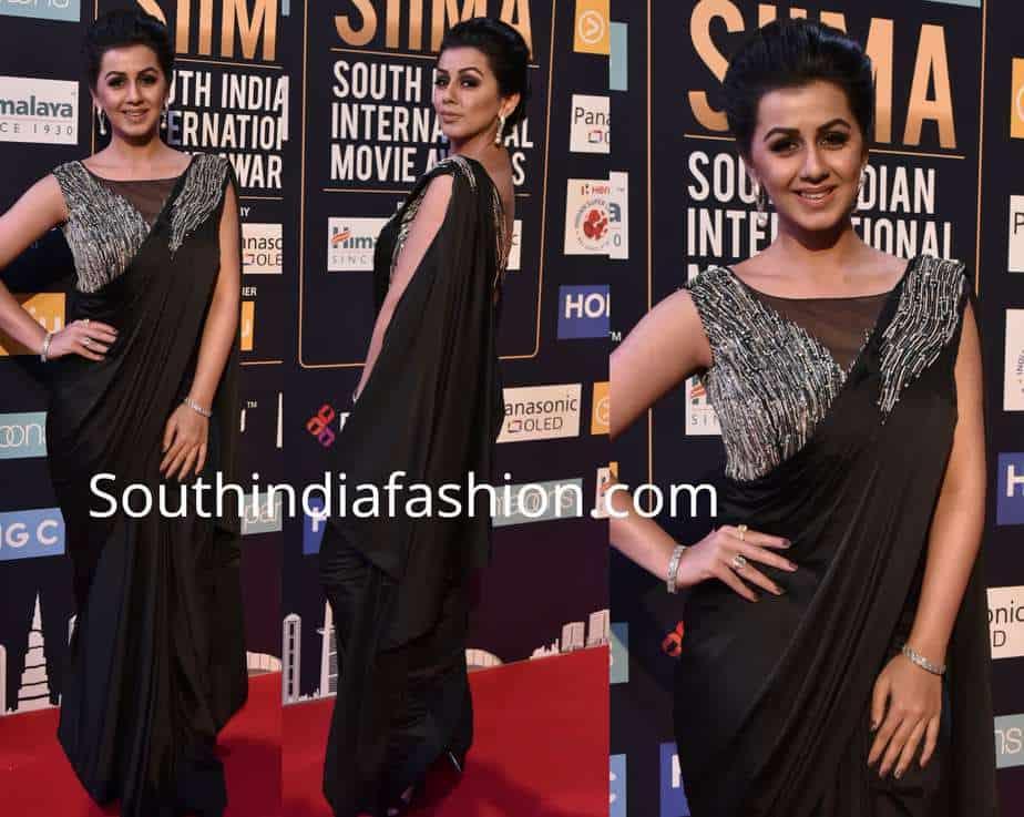 nikki galrani black saree gown siima awards 2018
