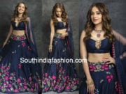 nushrat barucha in blue lehenga by arpita mehta