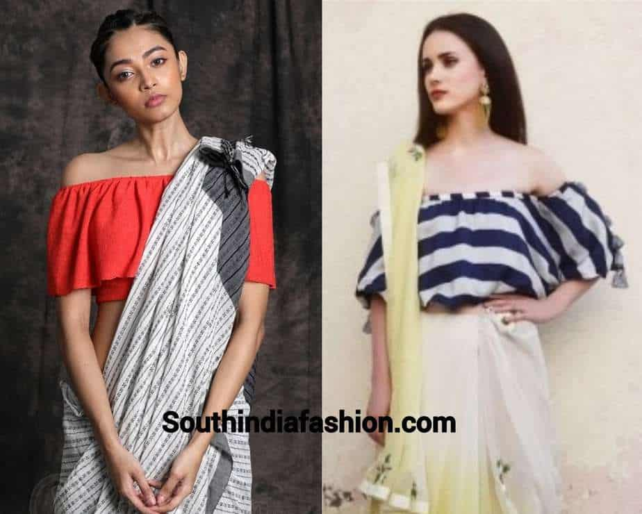 off shoulder top with saree for fusion saree look